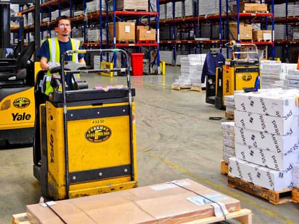 Yale Electric Pallet truck supplied by Forkway at Stelrad
